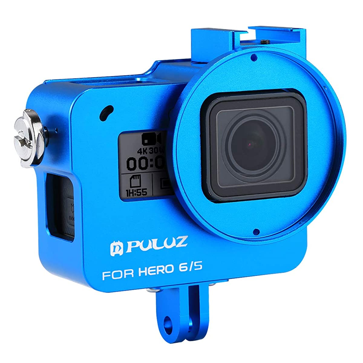 XINGRUI Boutique Accessories PULUZ Housing Shell CNC Aluminum Alloy Protective Cage with Insurance Frame & 52mm UV Lens for GoPro Hero(2018) /7 Black /6/5(Black) XINGRUI (Color : Blue)
