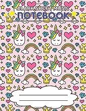 Blank Sheet Music Notebook: Wide Staff Manuscript Paper Notebook, 8 Large Staves Per Page (Cute Unicorn, Diamond, Heart, Rainbow)