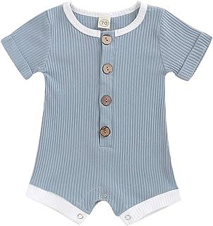 HZYKOK Newborn Infant Toddler Baby Boy Girls Jumpsuit Cotton Knitted Long Sleeve Romper Onesie
