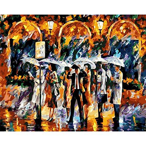 DIY olieverfschilderij platform in regen digitaal voorgedrukte kleur canvas-olieschilderij voor volwassenen kinderen beginners schilderen op nummer kits, 40x50 cm, zonder lijst