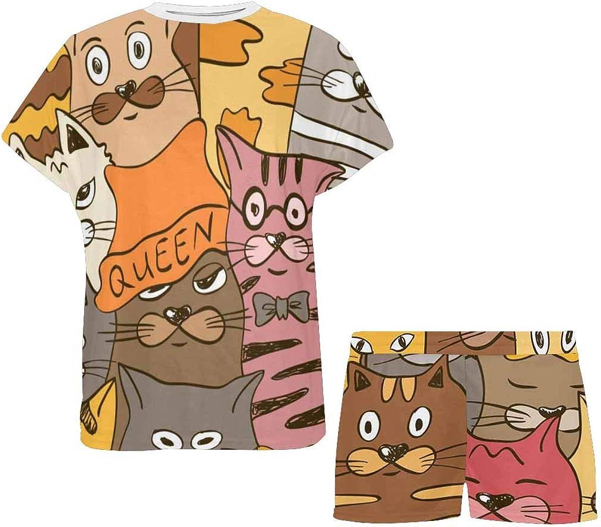 INTERESTPRINT Colorful Funny Cats Women's Lightweight Pajama Set, Short Summer Pjs