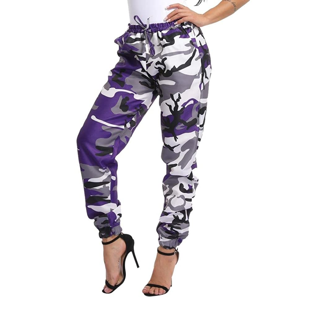 2018 Women Sports Camo Cargo Pants Outdoor Casual Camouflage Trousers by-NEWONESUN