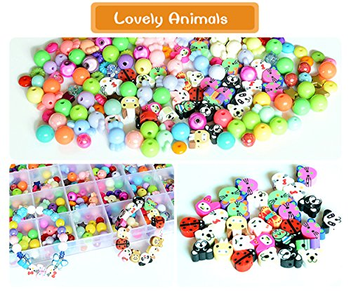 mofa Beads Set for Jewelry Making Kids Adults Children Craft DIY Necklace Bracelets Letter Alphabet Colorful Acrylic Crafting Beads Kit Box with Crystal line (Lovely Animals)
