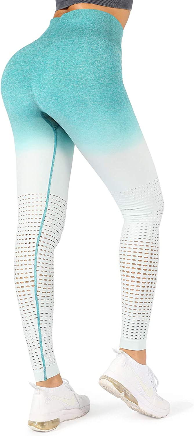 WOWENY Women High Waist Yoga Pants Cute Compression Mesh Leggings Athletic Workout Seamless Opaque Tights