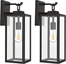 Outdoor Wall Lantern with ST19 LED Bulb,2700K,60W Equivalent, Matte Black Wall Light Fixtures, Architectural Wall Sconce w...