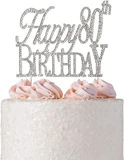 Happy 80th Birthday Rhinestone Cake Topper | Premium Sparkly Crystal Rhinestones | 80th Birthday Party Decoration Ideas | Quality Metal Alloy | Perfect Keepsake (Happy 80th Silver)