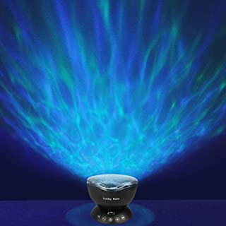 Ocean Wave Night Light Projector with Music Player Romantic Color Changing LED Party Decorations Projection Lamps Mood Lighting for Living Room Bedroom (Black)