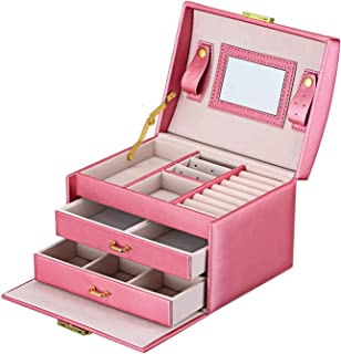 KH Jewelry Box with Mirror and Lock Portable Small Jewelry Organizer Travel Storage Case for Rings Earrings