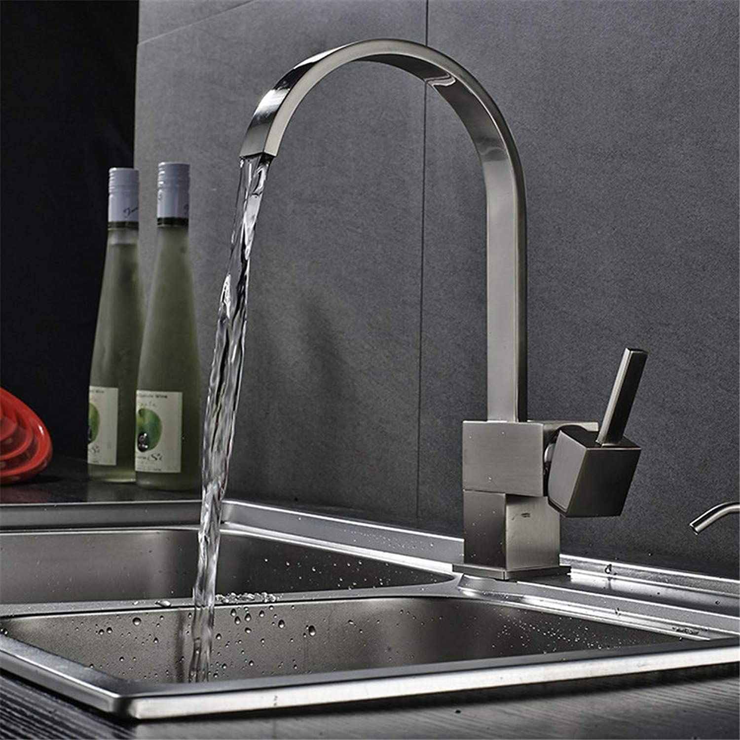 Grünical Kitchen Faucet, Single Hole Kitchen Sink, Water Faucet, Cold Water Mixer, Square Single Handle Can Be Rotated.