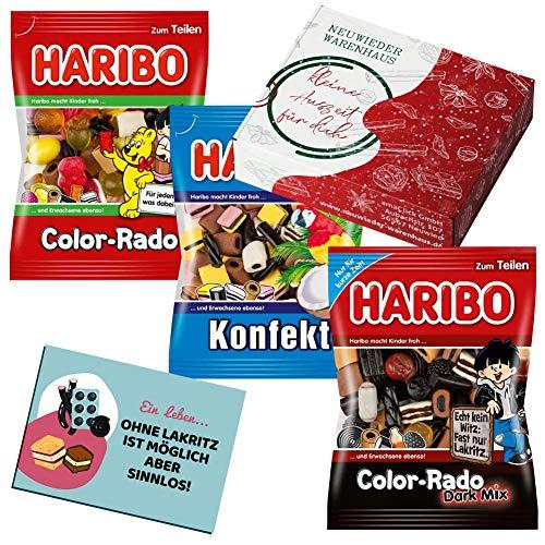 Haribo Lakritze Süßigkeiten Box - Lakritz Geschenk für Freund - Mitbringsel (Konfekt Mix, 3er Pack)