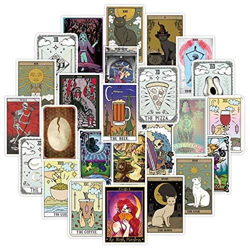 IBQ Cute Stickers Pack 50-Pcs Divination Tarot Card Stickers Fridge Sticker for Laptop Luggage Skateboard Cars Motorcycle Bicycle Decals