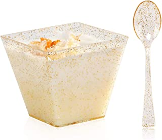 BUCLA 100Pack Square Small Dessert Cups-4oz Disposable Gold Glitter Plastic Bowls-100pack Mini Tasting Spoons-Great for Tasting Party Desserts Appetizers