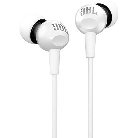 JBL C100SI In-Ear Deep Bass Headphones with Mic (White)