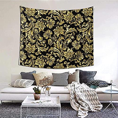 Tapiz para colgar en la pared, color negro, dorado, brillante, vintage, damascos, manta de pared, arte para sala de estar, dormitorio, decoración del hogar, 152 x 130 cm