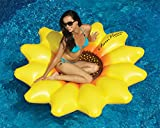 Inflatable Yellow and Brown Sunflower Island Swimming Pool Raft, 72-Inch