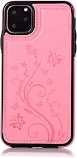 Simple Flip Case Fit for iPhone 11 Pro, pink Leather Cover Wallet for iPhone 11 Pro