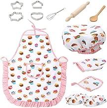 Kits de Cuisine pour Enfants avec Chapeau de Chef Tablier Gant de Cuisson et ustensiles,11 pi/èces Toyvian Enfants Ensemble de Chef