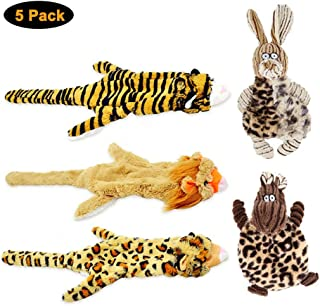 Wildmarely Squeaky Dog Toys for Boredom, 5 Pack Chew Toysfor Puppy Small Medium Dog Pets Teething Lion Leopard Tiger BullRabbit,Resistant to Pull and Drag