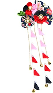 Monrocco Japanese Hair Pin Kimono Flower Hair Clip Kanzashi Hair Ornament Tie Band Clip for Womens Girls