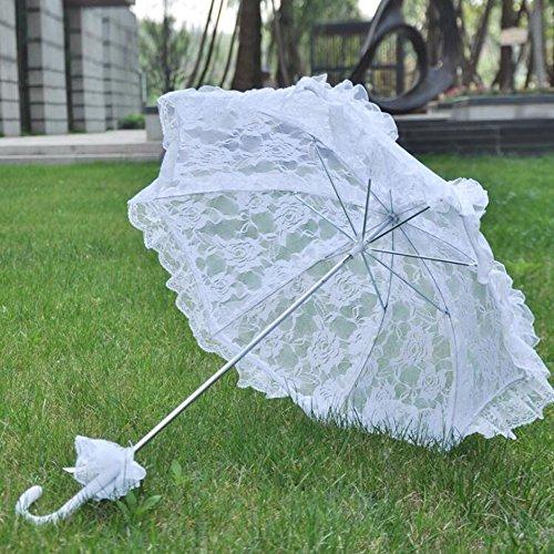 bpblgf kant paraplu bruiloft doek kunstbloemen bruidsmeisjes zomer parasol vintage katoen bamboe bruidsmeisje, A, 58 * 58