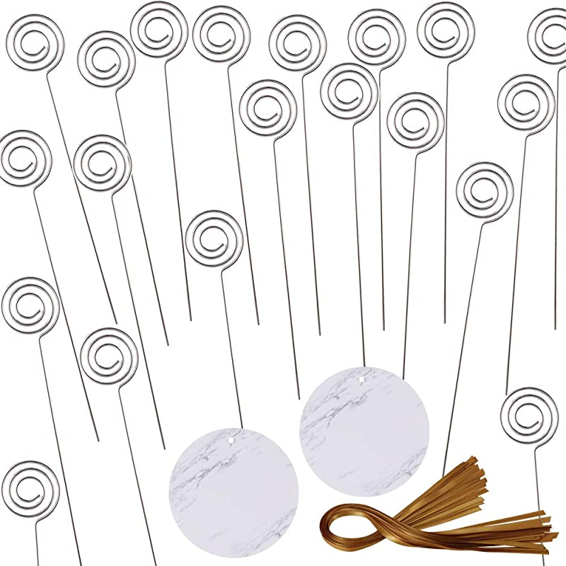 Exquiss 20 Set Metal Wire Floral Place Card Holder Pick 5 9 Tall Ring Loop Photo Swirl Clip Memo Food Signs Clamp Clay Cake Accessories Decorations Wedding Party Birthday Baby Shower Event