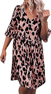 DIANEND Plus Size Dresses for Women, Summer Tops Boho Vintage v-Neck Leopard Print Mid Sleeve Beach Dress Knee-Length