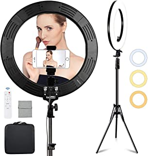 Volkwell 19-inch Dimmable LED Ring Light, Wireless Remote Control Selfie Ringlight with Tripod Stand Phone Holder and Carr...