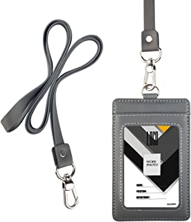 Indressme 2-Sided Vertical Genuine Leather ID Badge Holder with Lanyard