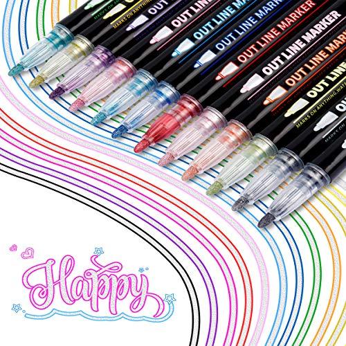 KETIEE Rotuladores Magicos, 12 Colores Rotuladores Doble Linea Rotuladores Doble Contorno Bolígrafos de Contorno de Doble Línea Rotuladores Purpurina para Felicitaciones de Cumpleaños