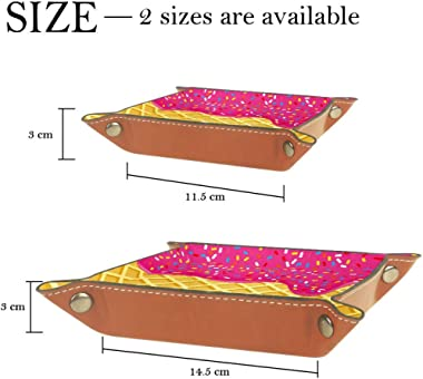 Strawberry Ice Cream Melted and Topping On Waffle Leather Tray Dice Box Bedside Tray Key Watches and Candy Holder Sundries Entryway Tray,20.5x20.5cm