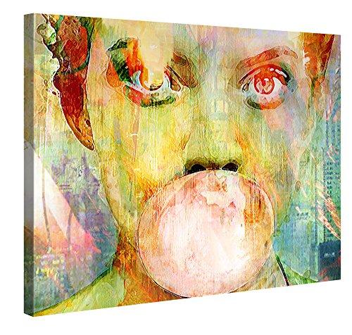 Gallery of Innovative Art – Bubblegum Girl – 100x75cm – Larga Stampa su Tela per Decorazione murale – Immagine su Tela su Telaio in Legno – Arazzo Decorazione murale