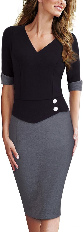 HOMEYEE Women's Official Wear to Work Half Sleeve V Neck Pencil Bodycon Dress B364