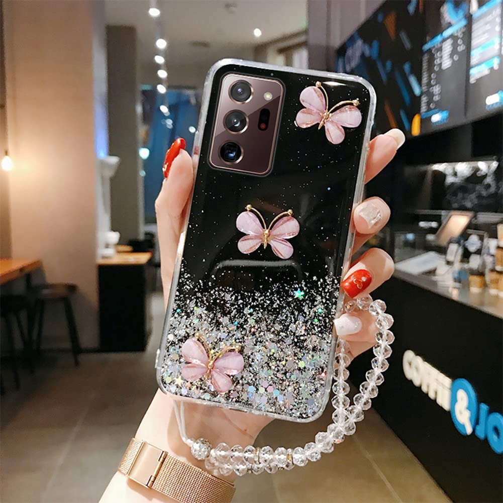 ISYSUII Crossbody Phone Case for Samsung Galaxy S9 Butterfly Glitter Sparkle Bling Paillette Stars Diamond Case Flexible Soft Silicone Protective Cover with Neck Cord Lanyard Strap,Black