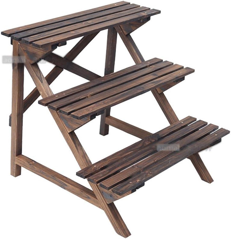 MENA HOME  Karbonisiertes Holz Konservierungsmittel Holz Mehrstckige Leiter Blaumenbeet Indoor Wohnzimmer Real Holz Blaumenrahmen Outdoor Balkon Multi-Blaume Blaumentopf Rack ( gre   706062cm )
