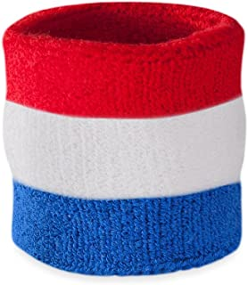 Suddora Striped Wrist Sweatband- Athletic Cotton Terry Cloth Wristband for Sports (1 Piece)(Red White and Blue)