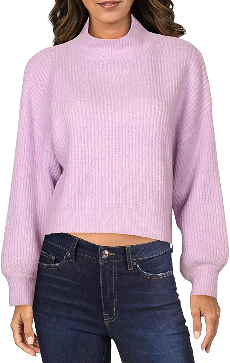 Line & Dot Womens Ruby Knit Ribbed Crop Sweater Purple S