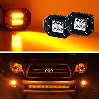 iJDMTOY (2) Amber Yellow 3-Inch Flush Mount 24W CREE LED Pod Lights For Truck Jeep Off-Road ATV 4WD 4x4, etc
