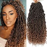 Karida New Goddess Locs Crochet Hair 22 Inch 8Packs River Faux Locs Crochet Hair With Curly Ends River Curls Crochet Locs Synthetic Braids Hair Extensions (22 Inch (Pack of 8), T1B/30#)
