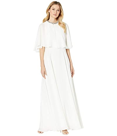 Calvin Klein Popover Cape Gown w/ Embellished Neck (Cream) Women