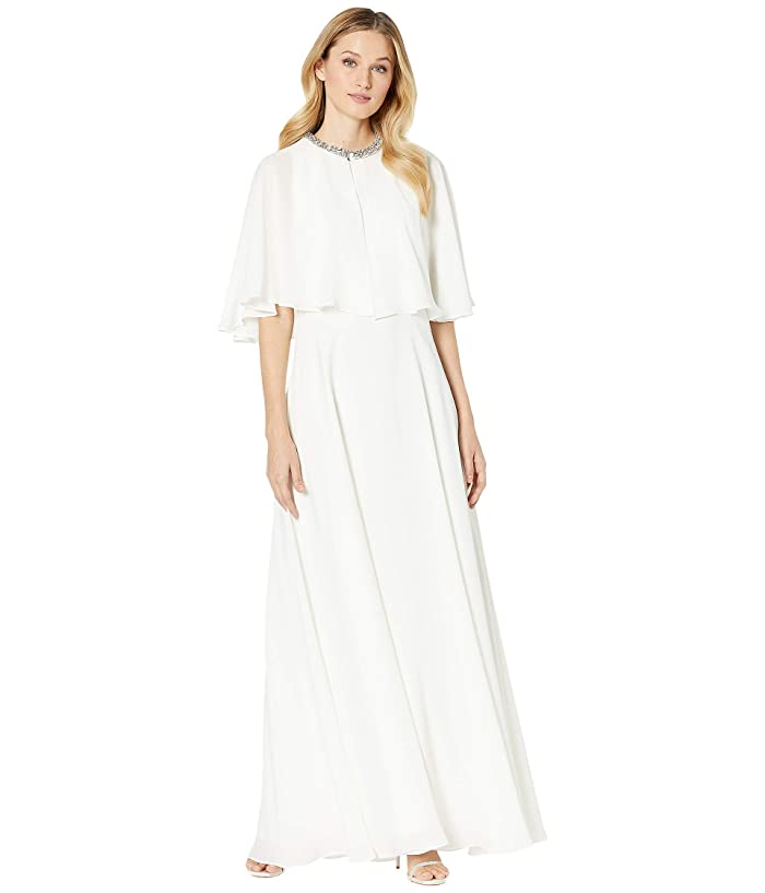 60s Wedding Dresses | 70s Wedding Dresses Calvin Klein Popover Cape Gown w Embellished Neck Cream Womens Dress $151.89 AT vintagedancer.com