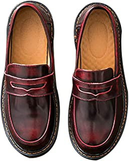 Women's Casual Genuine Leather Penny Loafers Driving Moccasins Slip-On Boat Flats Shoes