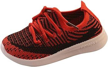 YWLINK Zapatos Casuales NiñO-Antideslizante Transpirable-Zapatillas De Deporte Casuales Tejidas Voladoras De Malla A Rayas para NiñOs Y NiñAs-Regalo De Fiesta De Bautizo para NiñOs