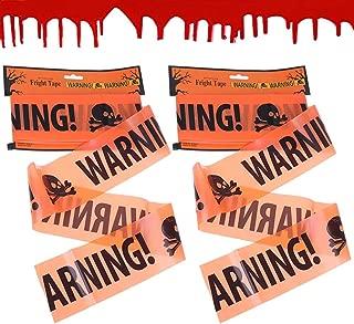 Qingsi 3 Pack Halloween Warning Caution Tape Halloween Props Terror Scene Warning Tape Caution Belt for Stairway Window Door Decor