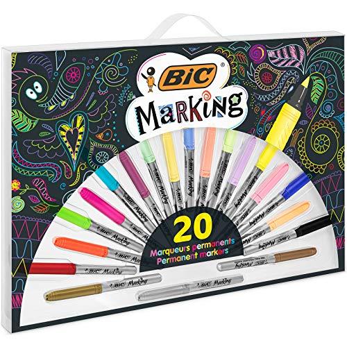 BIC Marking Permanent Markers - Colori Assortiti con 3 Metallici, confezione x 20