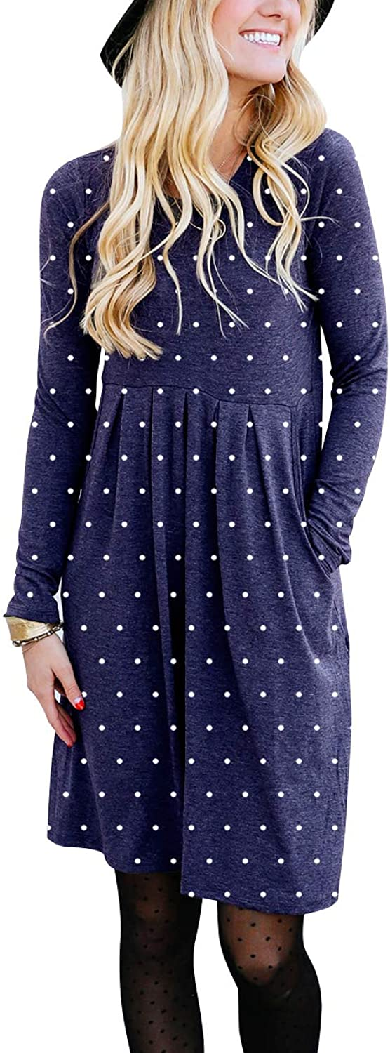 DAMISSLY Women's Long Sleeve Pleated Polka Dot Knee Length Casual Dress