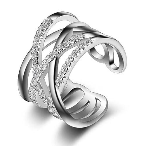 Karatcart Platinum Plated Austrian Crystal Elegant Adjustable Ring for Women