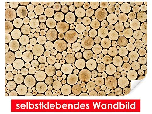 Image murale auto-adhésif Wood Stump – Facile à coller – Wall Poster Print, Wall Paper,, film vinyle avec point décoratif pour murs, portes, meubles et toutes les surfaces lisses de Trend murs, 90 x 60 cm
