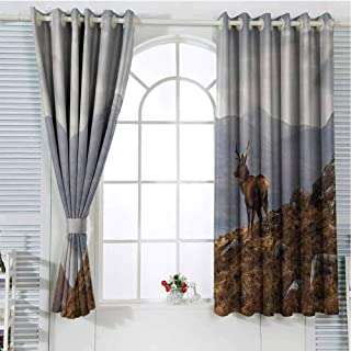 Deer Pattern Curtains Blackout Wild Stag Overlooking Loch Torridon and Dramatic Western Ross Mountain Nature View Bedroom Decor Living Room Decor W72 x L84 Inch Brown White