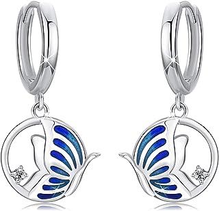 Butterfly Earrings, 925 Sterling Silver Hypoallergenic, Classic Huggies Hoops Earrings, Graduate Blue with Cubic Zirconia,...