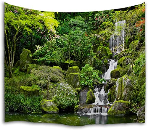 QIYI Tapestry Wall Hanging Nature Landscape Tapestries Mountains Cascade Decorations Art Misty River Stream Decor Blanket for Living Room Bedroom Dorm 229cm x 153cm - The Waterfall
